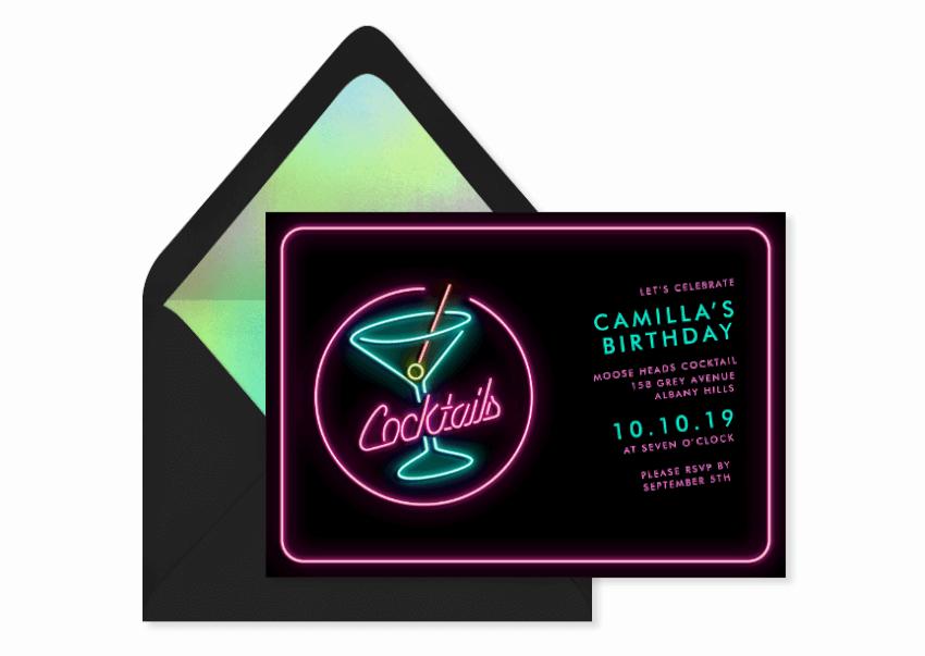neon birthday party invitation