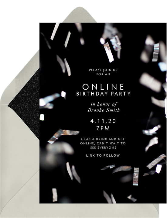 Sleek black birthday invitations online with silver confetti around the border