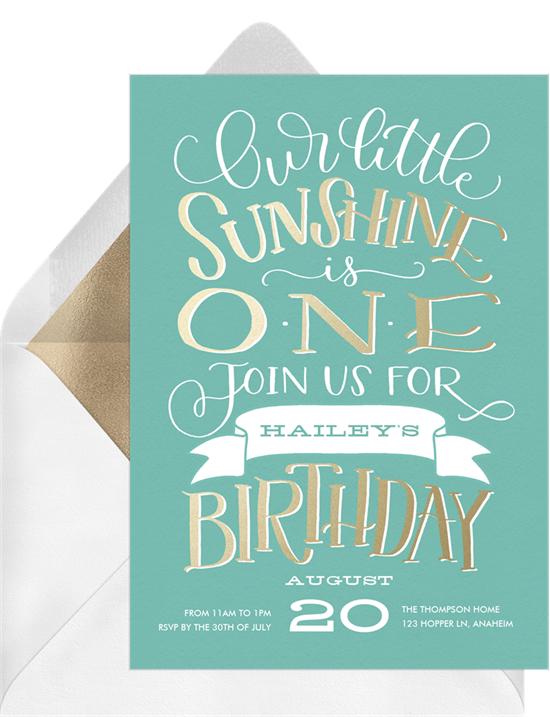 1st birthday invitations: the Our Little Sunshine invitation design from Greenvelope