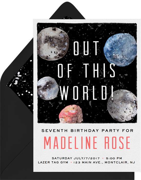 1st birthday invitations: the Out of This World invitation design from Greenvelope