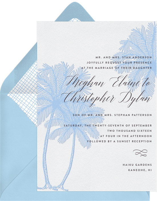 Beach wedding invitations: the Palm Tree Trio invitation design from Greenvelope