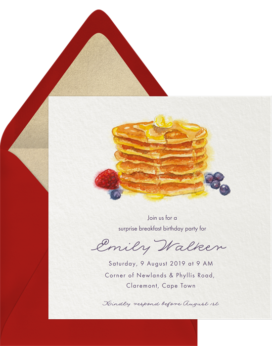 Brunch birthday invitations online that feature a stack of watercolor pancakes