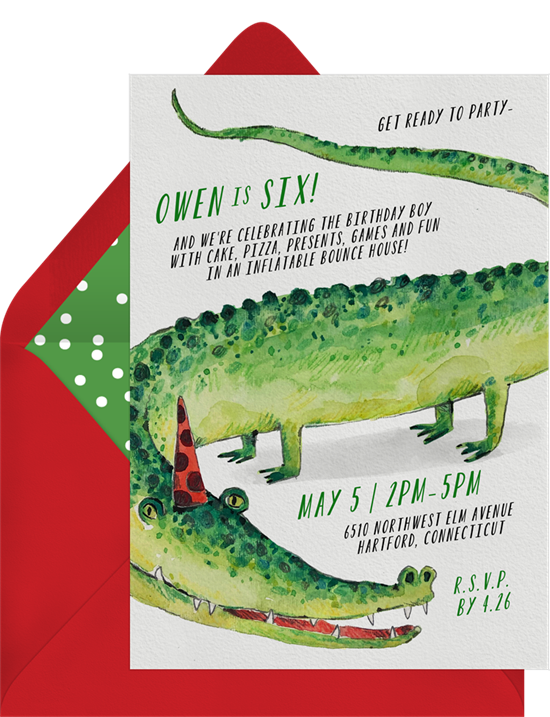 1st birthday invitations: the Party Gator invitation design from Greenvelope