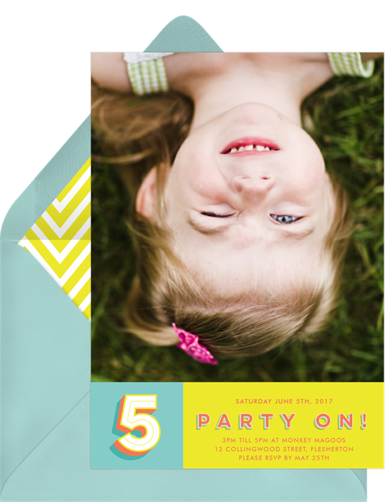 1st birthday invitations: the Party On! invitation design from Greenvelope