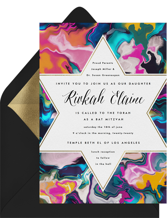 Colorful Bat Mitzvah Invitation with Star of David