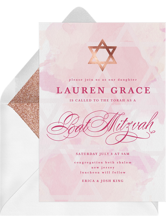 Star of David Bat Mitzvah Invitations