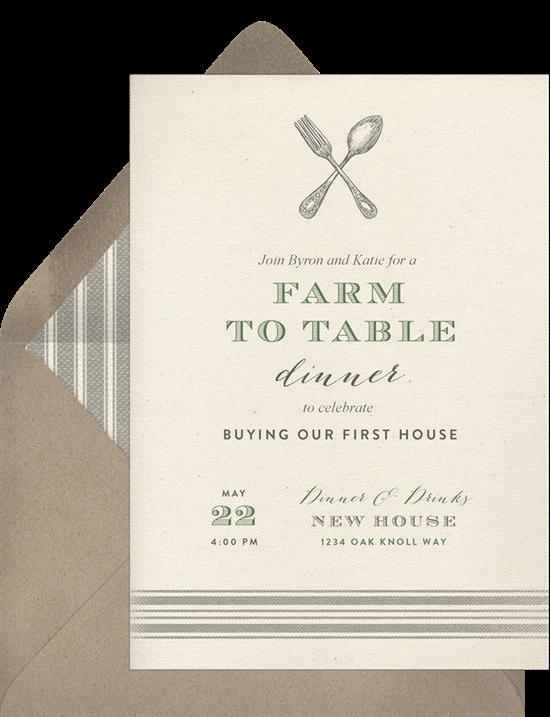 Rustic Farmhouse housewarming invitations from Greenvelope