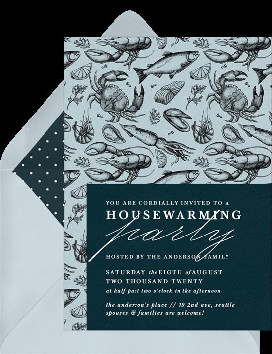 Seafood Soirée housewarming invitations from Greenvelope