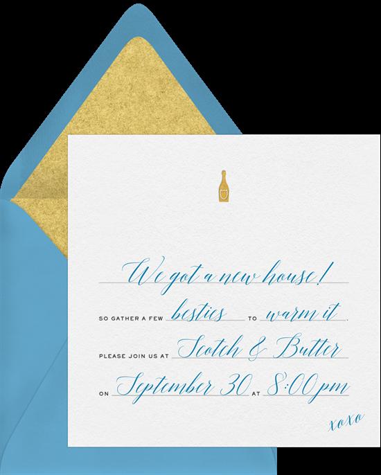 Gold Bottle housewarming invitations from Greenvelope
