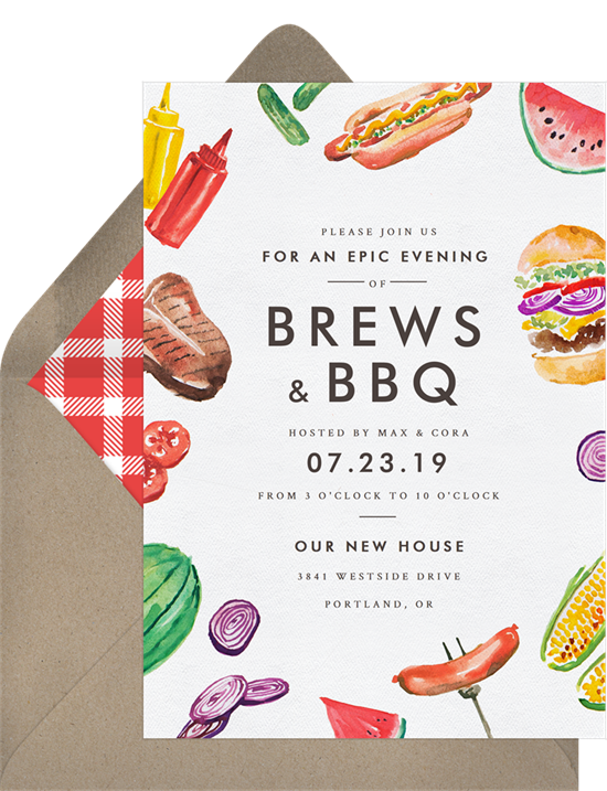 Grillin' and Chillin' housewarming invitations from Greenvelope