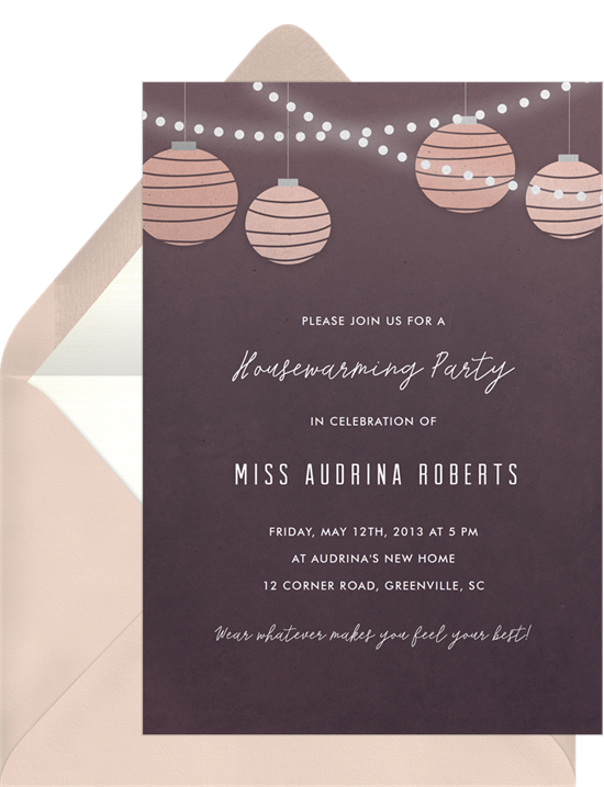 Lights and Lanterns housewarming invitations from Greenvelope