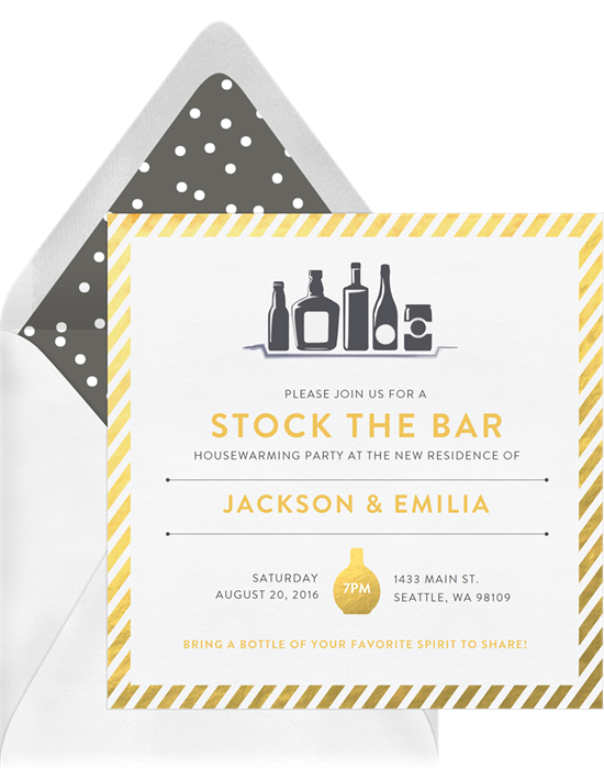 Full Bar Can't Lose housewarming invitations from Greenvelope