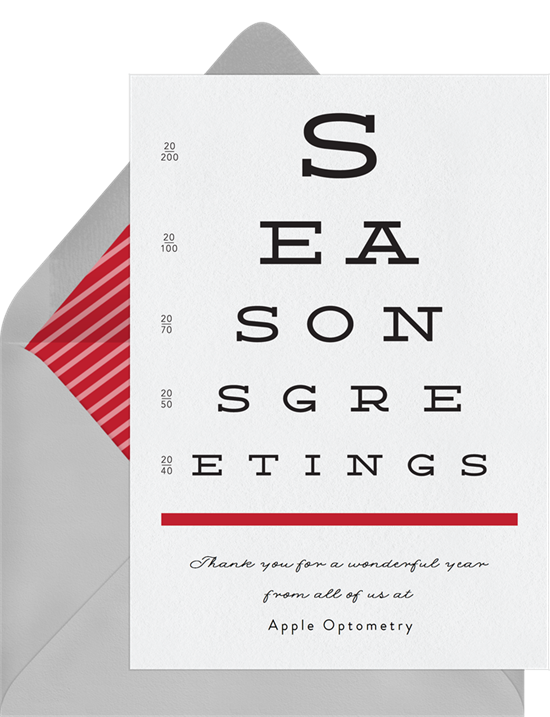 Eye Chart business Christmas cards from Greenvelope