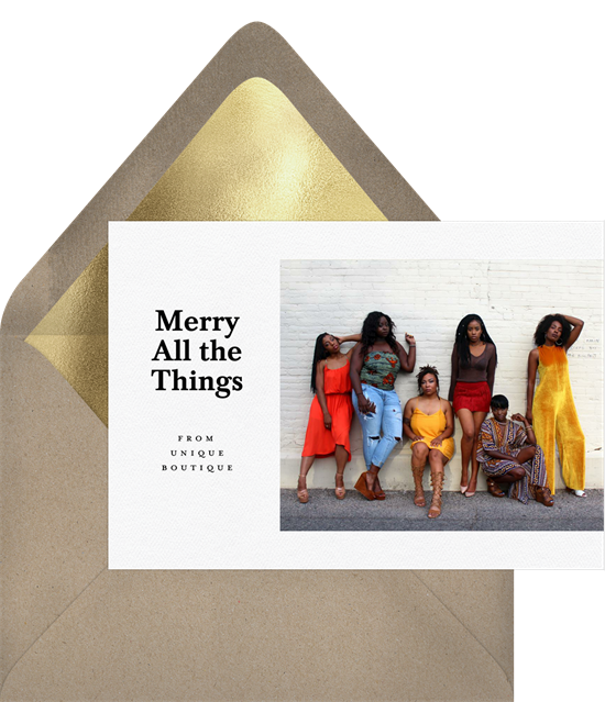 Merry All the Things business Christmas cards from Greenvelope
