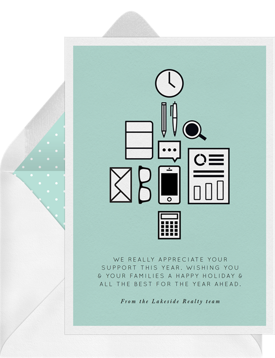 Office Supplies business Christmas cards from Greenvelope