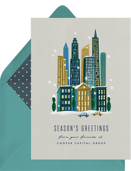 Downtown Cheer business Christmas cards from Greenvelope