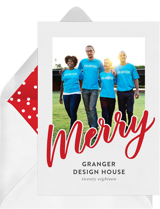 Merry Middle business Christmas cards from Greenvelope