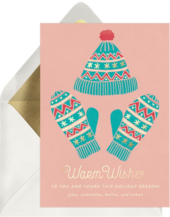 "A holiday card featuring inclusive Christmas card sayings, like ""warm wishes"" and ""holiday season"""