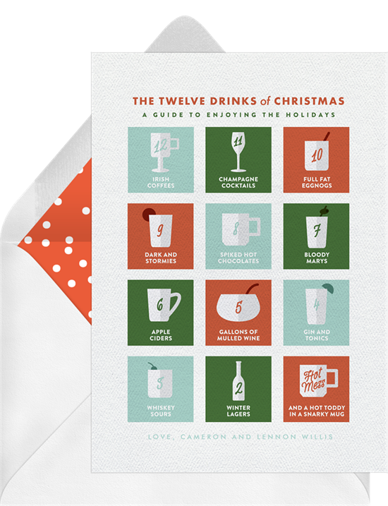 The unique Christmas card design: 12 Drinks of Christmas from Greenvelope