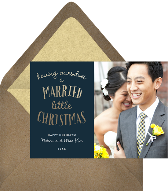 The unique Christmas card design: Married Little Christmas from Greenvelope