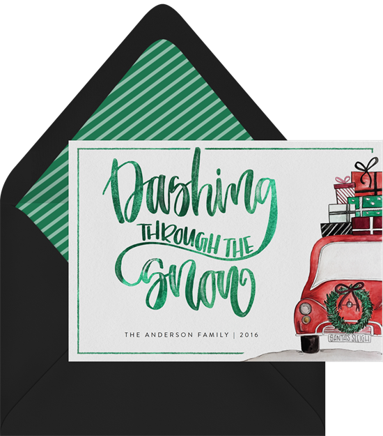 The unique Christmas card design: Dashing Greetings from Greenvelope
