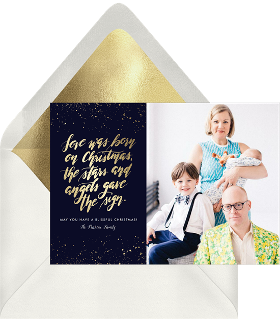 The unique Christmas card design: Born on Christmas from Greenvelope
