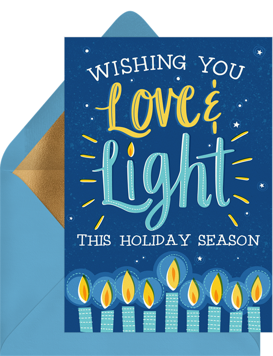Love & Light business holiday cards from Greenvelope