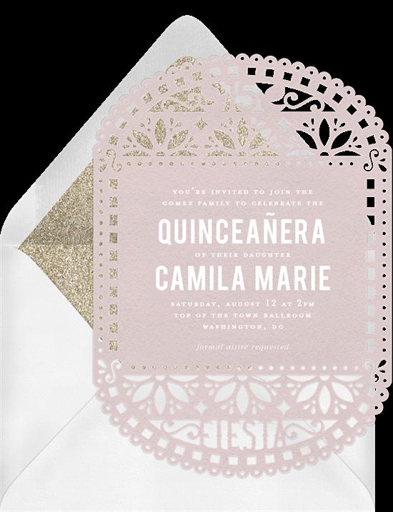 Classic Papel Picado Quinceañera invitations from Greenvelope