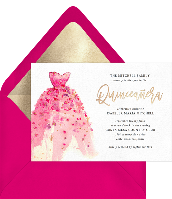 Girly Gown Quinceañera invitations from Greenvelope