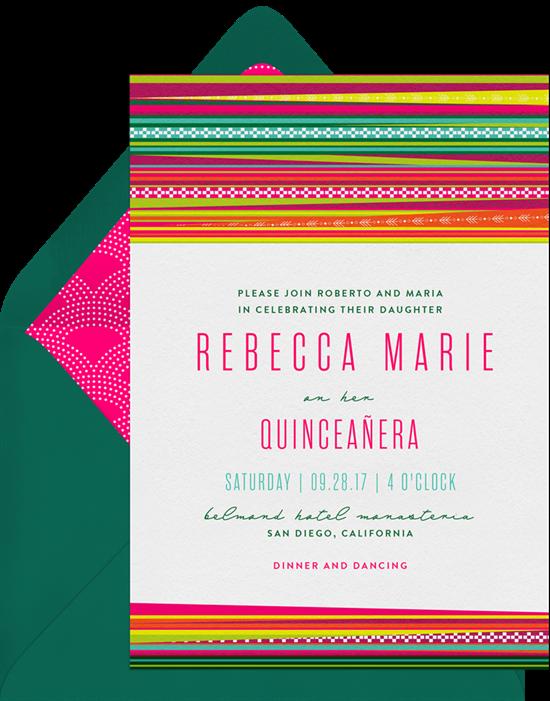 Llama Love Quinceañera invitations from Greenvelope