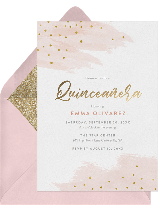 Sprinkle of Gold Quinceañera invitations from Greenvelope