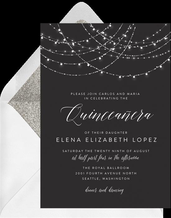 Sparkling String Lights Quinceañera invitations from Greenvelope