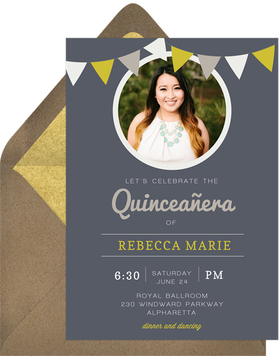 Celebration Flags Quinceañera invitations from Greenvelope
