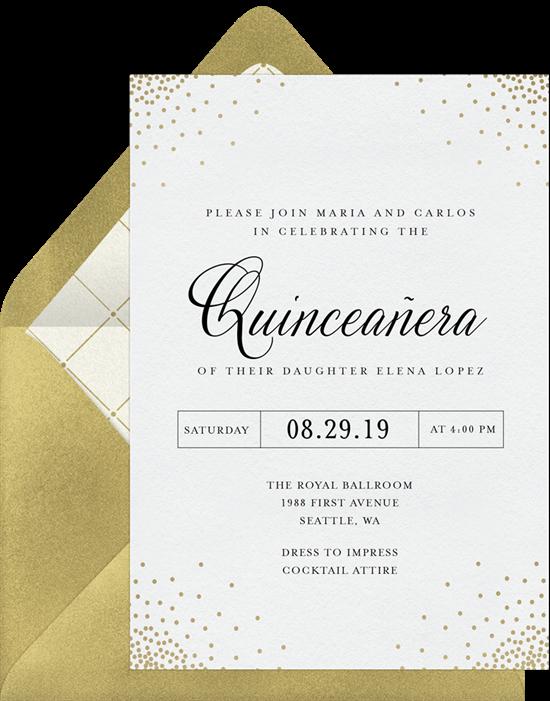 Elegant Confetti Quinceañera invitations from Greenvelope