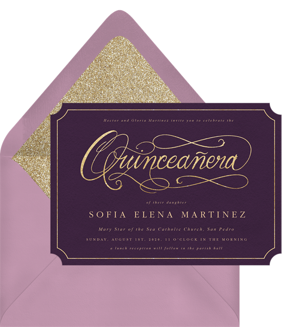 Quinceañera Script invitations from Greenvelope