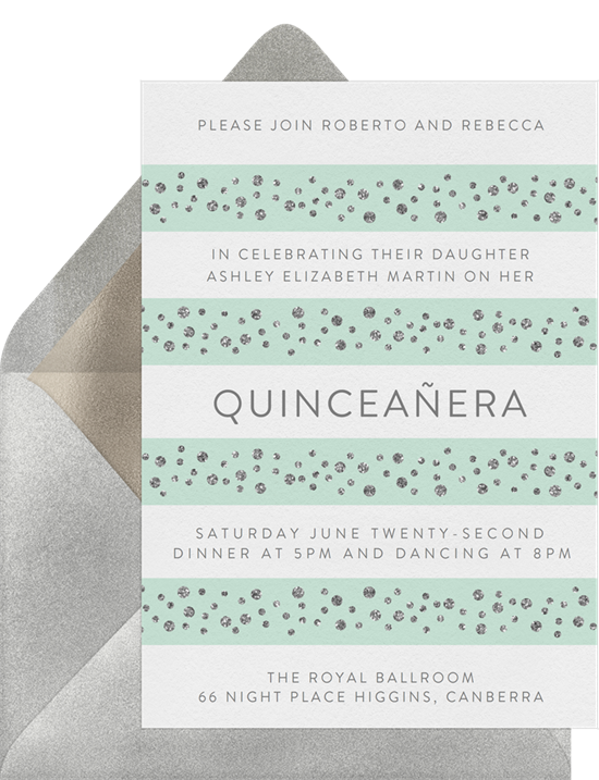 Decked Out in Diamonds Quinceañera invitations from Greenvelope