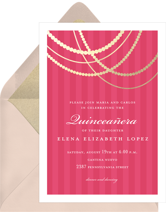Draped Gold Quinceañera invitations from Greenvelope
