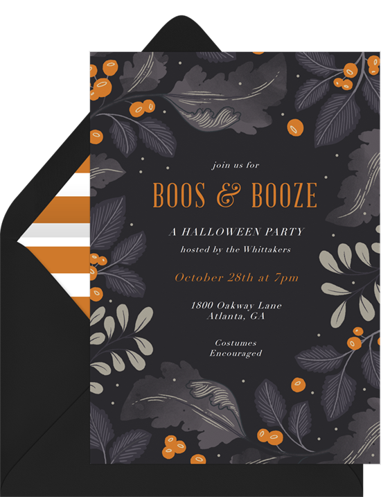 Boos & Booze Halloween Invitations from Greenvelope