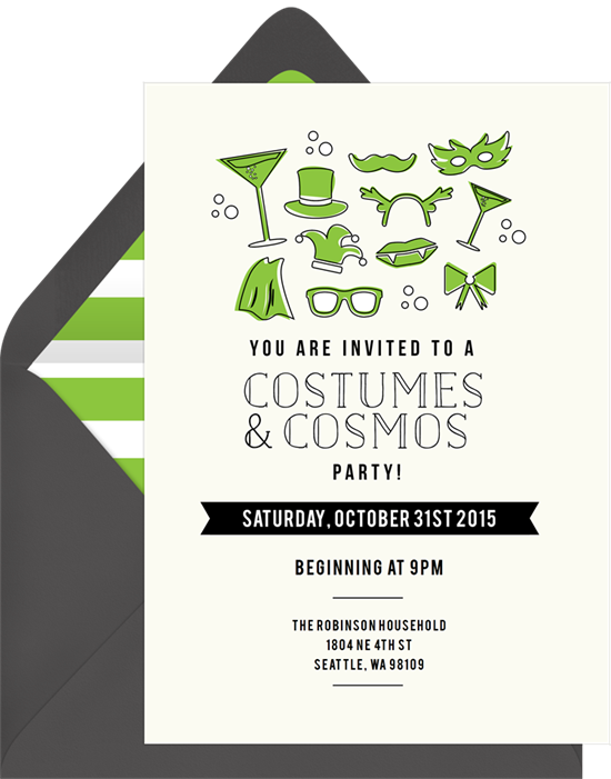 Costumes and Cosmos Halloween Invitations from Greenvelope