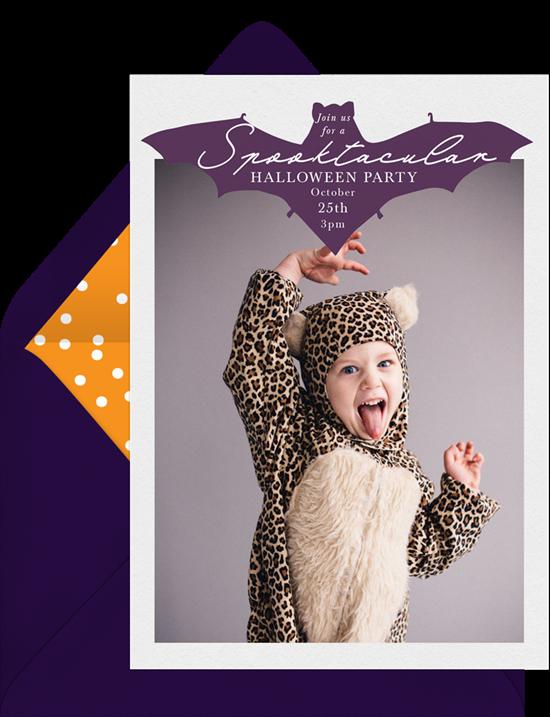 Spooktacular Bat Halloween Invitations from Greenvelope