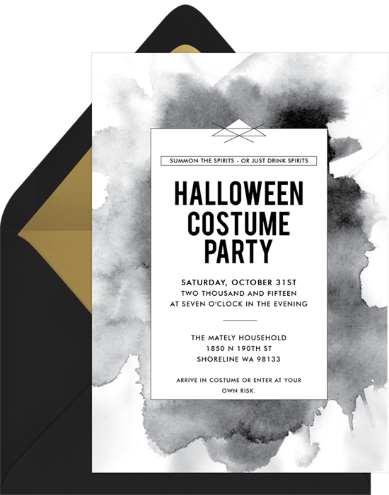 Black Ink Halloween Invitations from Greenvelope