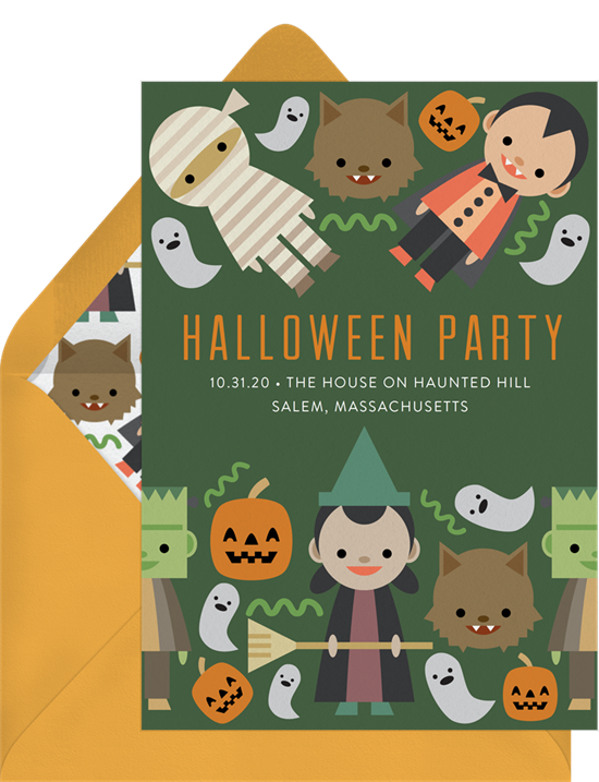 Cute Monster Halloween Invitations from Greenvelope