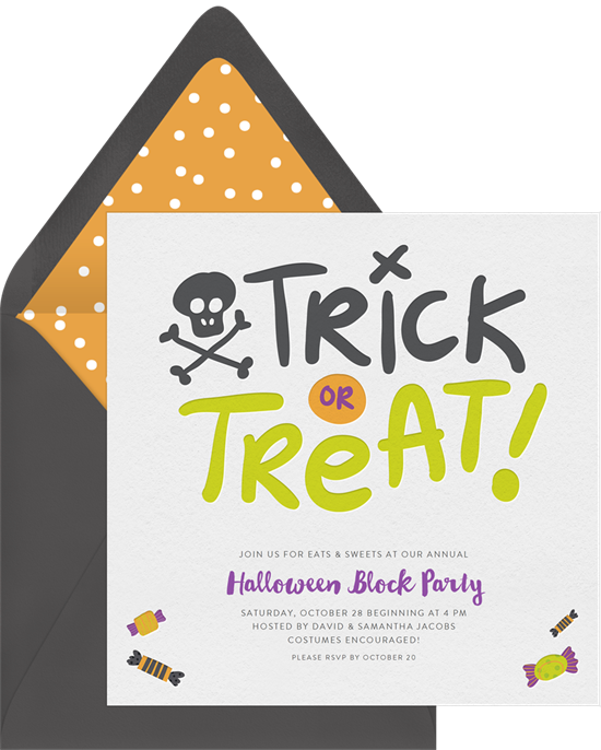 Trick or Treat Halloween Invitations from Greenvelope