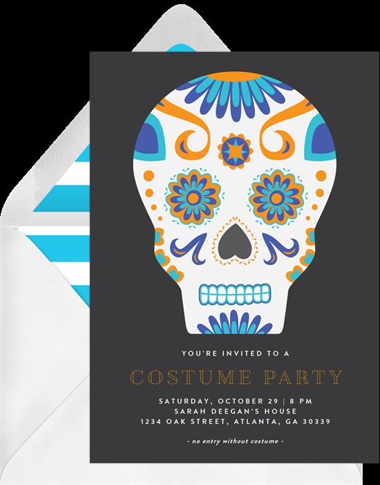 Sugar Skull Halloween Invitations from Greenvelope