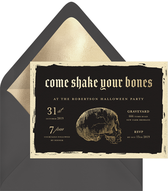 Come Shake Your Bones Halloween Invitations from Greenvelope