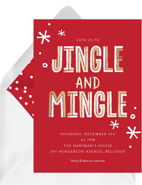 Jingle and Mingle: Christmas party invitations
