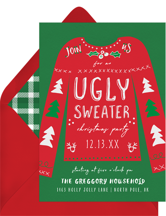 Ugly Sweater Party: Christmas party invitations