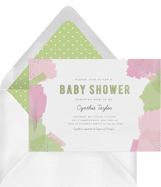 Baby shower invitations for boys: the Whimsical Brush Strokes invitation in green and pink colorways