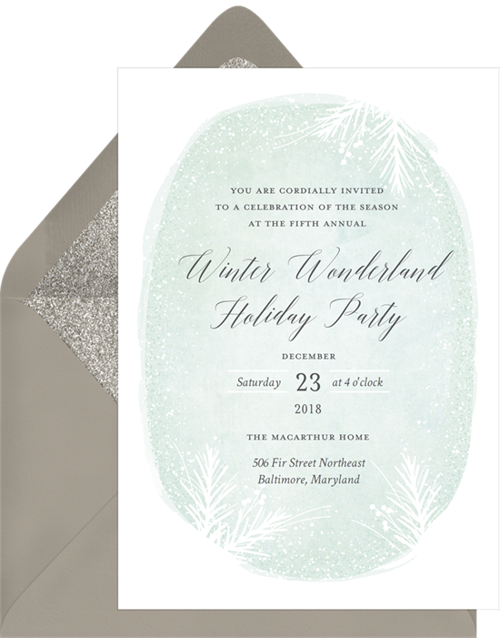 Winter wonderland holiday party invitations