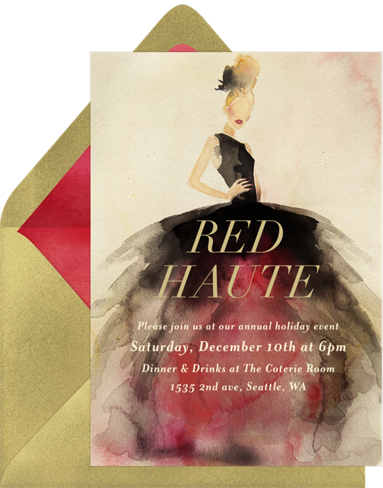Red haute holiday party invitations by Greenvelope